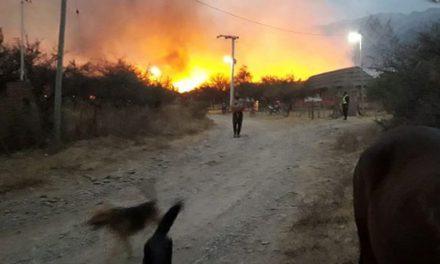 Incendio en las sierras de los Comechingones