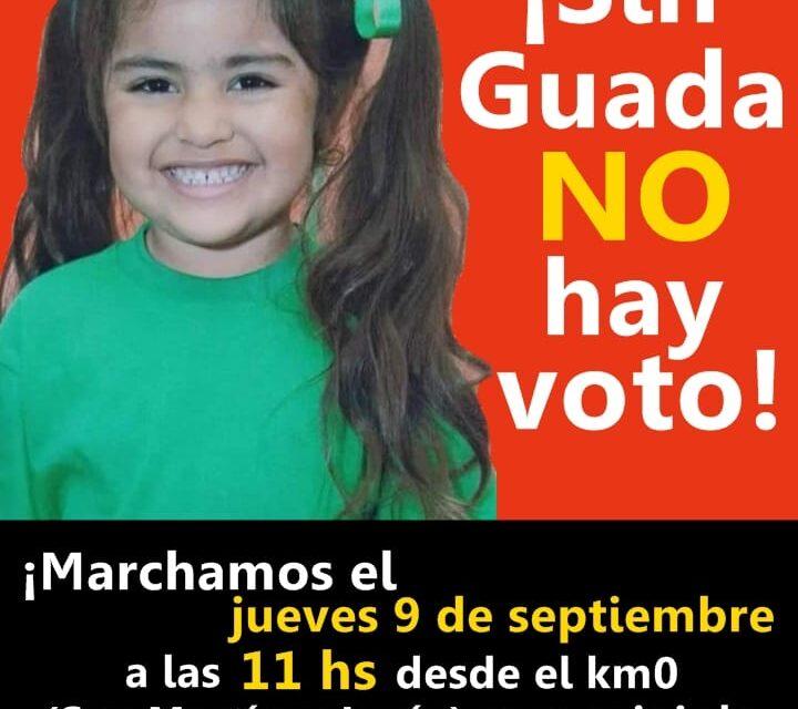 """Alerta Guadalupe: """"Sin Guada no hay voto"""" hoy habrá una nueva marcha"""
