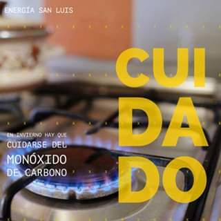 Energía San Luis alerta sobre el monóxido de carbono