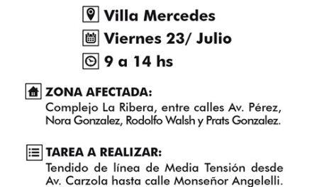 Cortes programados en Villa Mercedes, El Trapiche y Río Grande